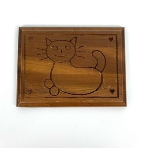 Kind Hearted Woman Smiling Cat Wood Carved Plaque
